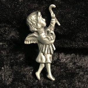 Vintage Pewter tie tack pin brooch BALLOUE Reg'd